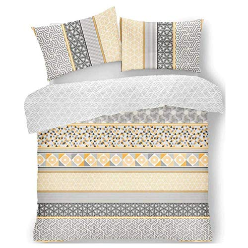 FAIRWAYUK Yellow Bedding Set Geometric Quilt Duvet Cover With Pillow Case Easy Care Double