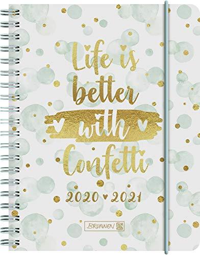 """BRUNNEN 1071850091 """"Confetti"""", Wochenkalender/Schülerkalender 2020/2021, 2 Seiten = 1 Woche , Blattgröße 12 x 16 cm , A6 , PP-Einband"""