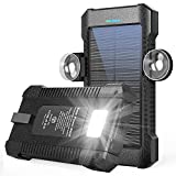 Solar Power Bank 26800mAh, Portable Solar Power Bank with Car Suction Cup Mount,Solar Charger with Dual USB Ports, Ports External Backup Pack with Flashlight for Camping,Solar Panel Charger (Black)
