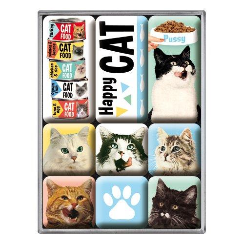 Llavero Redondo Nostalgic-Art 48015 Animal Club Happy Cat 4 cm