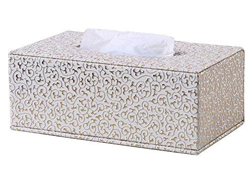 Kingfom rectangular piel sintética caja de pañuelos de papel Servilletero para la oficina en casa, decoración de coche Automotive (Patrón tejido negro)