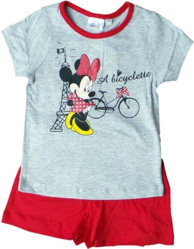Disney Minnie Maus Zweiteiler/Schlafanzug/Shirt und Shorty - Minnie fährt mit Dir nach Paris - Grau/Rot
