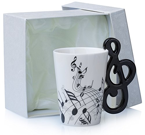 Grinscard Keramiktasse mit Motiv Henkel - Weiß Notenschlüssel Design ca. 0,2l - Tee & Kaffee Tasse zum Verschenken