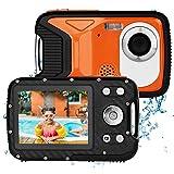 BYbrutek Appareil Photo Numérique pour Enfants, 21 Mega Pixels FHD 1080P, 5 Mètres étanche, 2.8 LCD, Zoom numérique 8X, Appareil Photo étanche avec Batterie Rechargeable de 1050mAh (Orange)