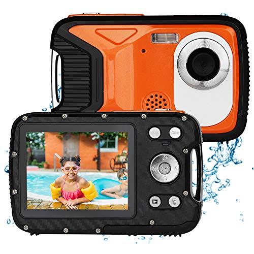BYbrutek Cámara Digital para Niños, 21MP 1080P Full HD, 5 Metros Impermeable, Cámara Subacuática para Niños, LCD de 2,8 Pulgadas, Zoom Digital 8X, con Batería Recargable de 1050MaH (Naranja)