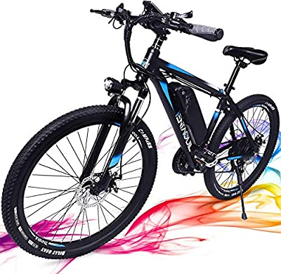 3Y Adult Electric Bicycles 350W Electric Bikes for Adults 20mph Ebike with Removable 36V 10.4Ah Battery 26'' Bikes for Men Shimano 21 Speed Gears