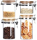 Lawei Set of 4 Airtight Glass Jars - 15 23 33 43 Oz Glass Canisters Set Storage Jars with Clamp Lid Food Storage Containers for Coffee Loose Tea Nut Candy Cookie Snack Rice