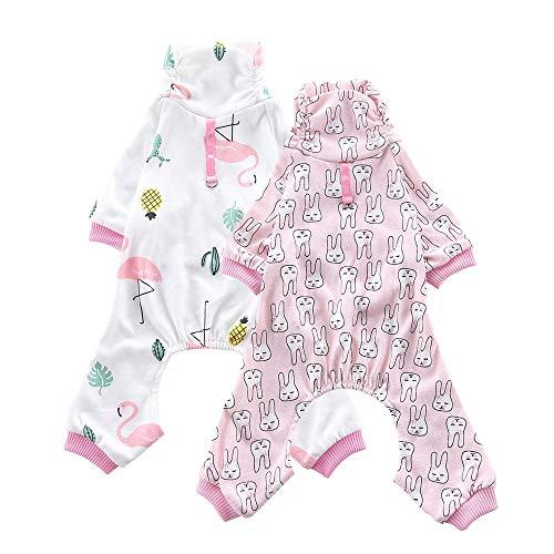 Oncpcare Paquete de 2 pijamas de perro (conejo+grúa de corona) de algodón suave, ropa de dormir para perros, ropa de dormir para perros cachorros y gatos