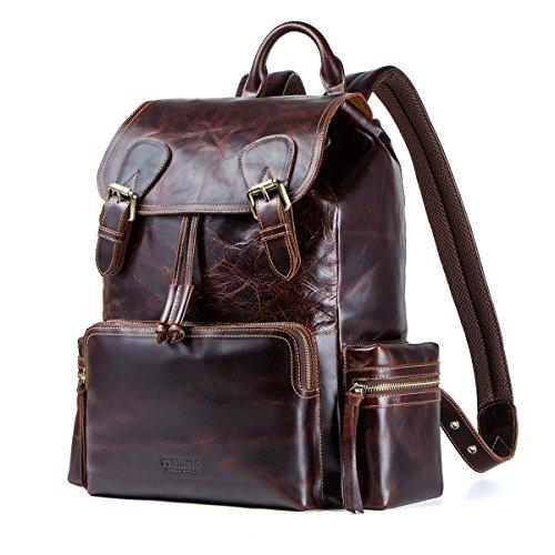 Contacts Echtes Leder Rucksack Vintage College Schultasche Reise Daypack passt 14 '' MacBook Laptop (Kaffee)
