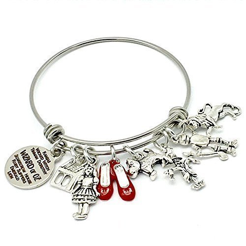 Wizard of Oz Inspired Bangle Charm Bracelet, with Dorothy, Toto, Scarecrow, Tin Man and Cowardly Lion