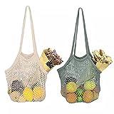 Zasjon bolsas de malla reutilizables, 2 piezas bolsa de red compra bolsa compra...