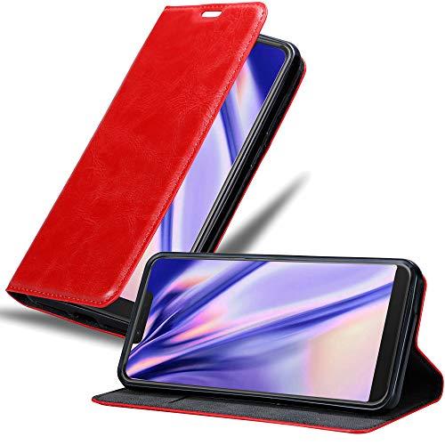 Cadorabo Hülle für WIKO View 2 Plus in Apfel ROT - Handyhülle mit Magnetverschluss, Standfunktion & Kartenfach - Hülle Cover Schutzhülle Etui Tasche Book Klapp Style