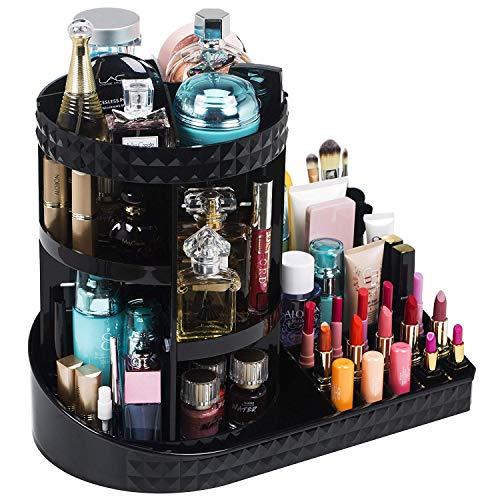 iPegTOP - Organizzatore rotante in acrilico, girevole a 360 gradi, regolabile, per gioielli, cosmetici, profumi, ottima capacità per riporre oggetti per comò, camera da letto, bagno, nero