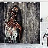 ABAKUHAUS Zombie Duschvorhang, Verärgerte Tote Frau, mit 12 Ringe Set Wasserdicht Stielvoll Modern Farbfest & Schimmel Resistent, 175x180 cm, Dunkle Taupe Pfirsich Rot