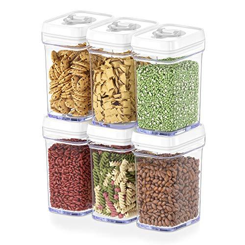 DWËLLZA KITCHEN Airtight Food Storage Containers with Lids Airtight – 6 Piece Set/All Same Size - Medium Air Tight Snacks Pantry & Kitchen Container - Clear Plastic BPA-Free - Keeps Food Fresh & Dry