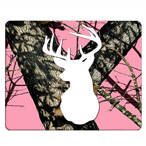 NICOKEE ELK Rectangle Gaming Mousepad Fashion Deer Head Pink Camo Tree Mouse Pad Mouse Mat for Computer Desk Laptop Office 9.5 X 7.9 Inch Non-Slip Rubber