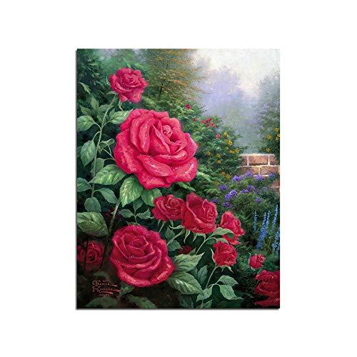 FXBSZ Ecke blühende rote rose moderne druckplakat für wohnzimmer schlafzimmer korridor dekoration hause wandkunst malerei ohne rahmen 20x30 cm