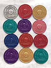 Set of 12 Aluminum AA Medallions Chips 24 Hours Months 1-11 Alcoholics Anonymous Medallion Chip Bulk Lot