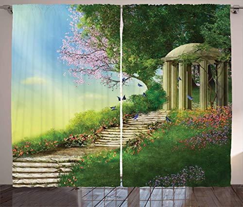 ABAKUHAUS Fantasie Rustikaler Vorhang, Pavillon an der Spitze von einem Hügel, Wohnzimmer Universalband Gardinen mit Schlaufen und Haken, 280 x 260 cm, Mehrfarbig