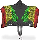 Zseeda Abstract Rainbow Lions Face to Face Art Magical Plush Sherpa Hood Poncho Cloak CapeMen Kids Studying Couch Decoración para el hogar