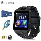 Hangang Reloj inteligente Bluetooth 1.56 pantalla táctil TFT LCD podómetro pantalla táctil Smart Watch Android para correr deporte DZ09 Negro
