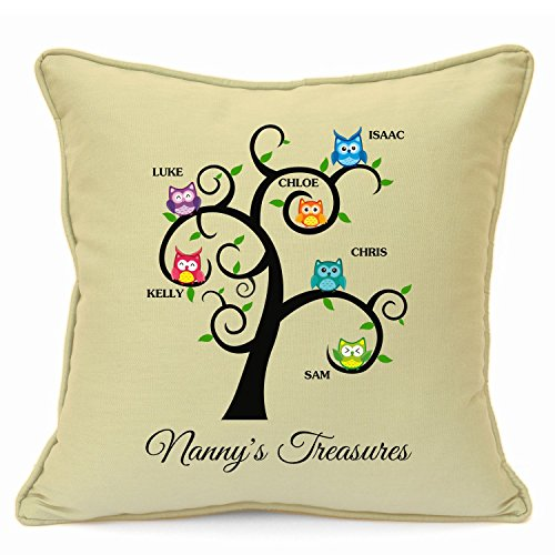 Personalised Presents Gifts For Grandma Nanny God Mother Birthday Mothers Day Christmas Xmas Family Tree Owls Cushion Cover 18 Inch 45 Cm Unusual Special Unique Idea Home Decor