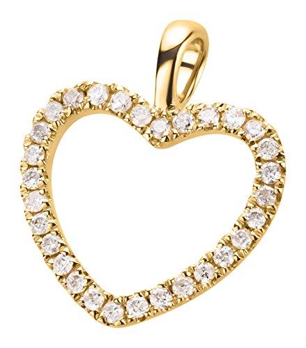 Ardeo Aurum Damen Anhänger aus 585 Gold Gelbgold mit 0,15 ct Diamant Brillant Herzanhänger Herz