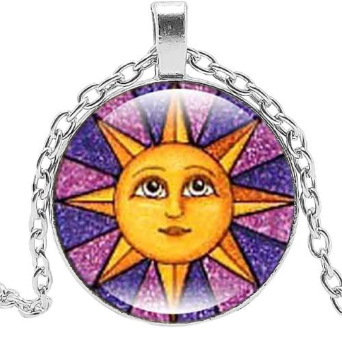 2019 nuevos accesorios sol luna tiempo cristal redondo collar vintage aleación galaxia sol dios colgante suéter cadena joyería