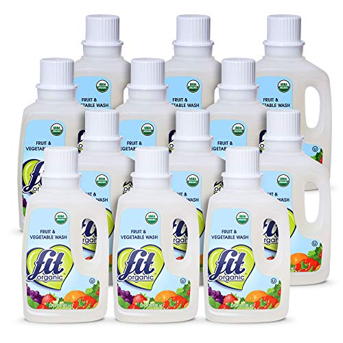 Fit Organic 32 Oz Soaker Produce Wash Fruit and Vegetable Wash and Pesticide/Wax Remover Pack of 12 Bottles