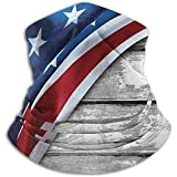 N/A Bandera americana Antigüedad Rústica Madera vieja Unisex Fleece Neck Gaiter Warmer Winter Windproof Ski Face Mask Pasamontañas Half Mask