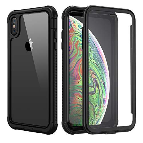 seacosmo Cover iPhone XS Max, 360 Gradi Rugged Custodia iPhone XS Max Antiurto Trasparente Case con Protezione Integrata dello Schermo, Nero
