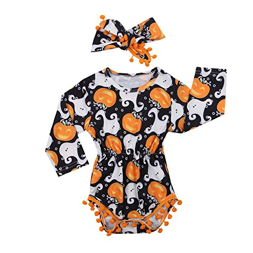 Cute Infant Newborn Baby Girl Long Sleeve Pumpkin Bodysuit Pompom Romper Outfit Clothes (Black, 6-12 Months)