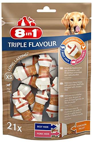 8in1 Triple Flavour Osso XS, 21 Pezzi, Osso Masticabile per Cani, Pelle al Sapore di Manzo e Maiale con Filetto di Pollo