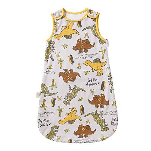 Saco de dormir para bebé de verano, primavera, diseño de animal, 1,0 tog, sin mangas (12-18 meses, pequeño dinosaurio)