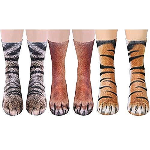 JasmineLi Neuheit 3D bedruckte Tierpfoten-Crew Socken lustig Tier Fuß Huf Medium Tube atmungsaktive Socken M 3 Paar/Katze + Hund + Tiger (21-28 cm)