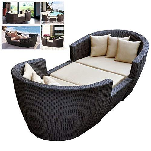 DNNAL Lounge-Sessel Chaise, Kombination Sofa Outdoor Recliner Sofa Beach Rattan Bett für Balkon Outdoor Garten Innenhof Wintergarten,A