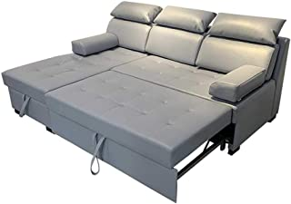 Convertible Sectional Sleeper L-Shaped Couch Futon Sofa Bed Protable Lazy Couch with Pull Out Bed and Large Storage Space,...
