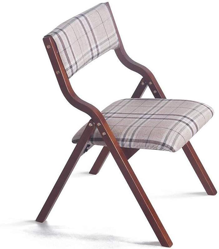 Carl Artbay Wooden Footstool Beige Lattice Cushion Brown Shelf Solid Wood Folding Chair Home Cloth Chair Desk And Chair Armchair Computer Chair Home