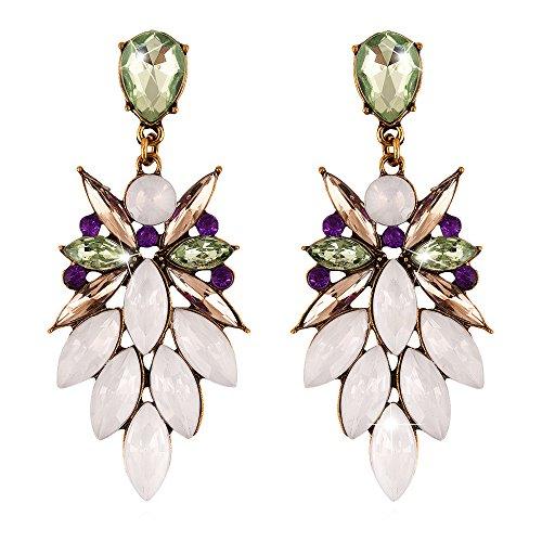 Pendientes colgantes multicolores con diseño de araña con cristales y gema grande, pendientes de gota de agua con diamantes de imitación y pendientes colgantes para mujer