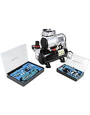 Timbertech® ABPST06 Kit d'aérographes et compresseur à piston/ 2 * Aérographe à double action et accessoires (buses, tuyau, etc.)