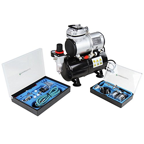 Timbertech Airbrush Kit ABPST06, Powerful 1/6 HP Airbrush Compressor with 2 Airbrush Gun Kits for Airbrush Painting, Makeup, Nail and Tattoo studios, Hobby