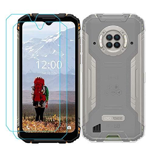 Ytaland Schutzhülle für Doogee S96 Pro, mit 2 x Bildschirmschutzfolie aus gehärtetem Glas. (3-in-1), kristallklares, weiches Silikon, stoßfest, TPU, transparent