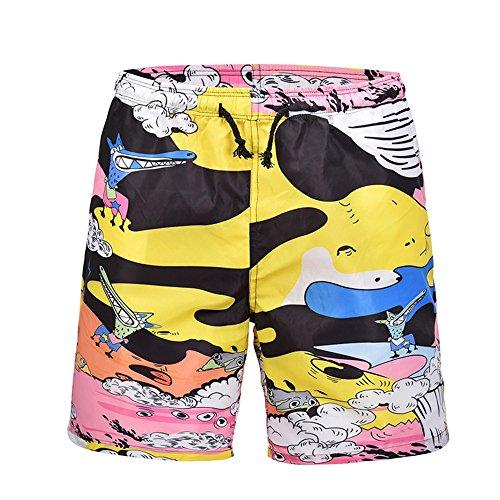 WHLDK Slips De Bain L'Été 2018 d'impression Grand Format d'impression Occasionnels Lâches Men's Beach Shorts Rose XL