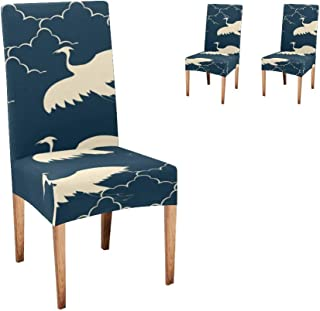 Anneunique XIUCOO Chair Covers for Dining Room,Custom Japanese Flying Cranes Protector Comfort Soft Seat Covers Slipcovers for Party Decor (Set of 2)
