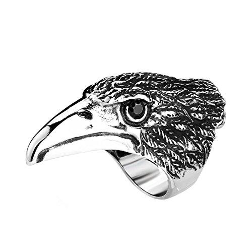 Beydodo Anillo Gotico Hombre,Anillo Hombre Acero Inoxidable Negro Plata Anillo Cabeza de Águila Talla 20(19.1)