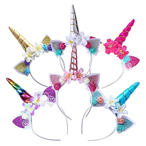 KOIROI Einhorn Haarreif für Kinder, 6 Stück Headband Stirnband Bunt mit Unicorn Horn, Haarschmuck für Geburtstag Geschenk Karneval, Ostern Geburtstag Birthday Party, Haarreif Einhorn Stirnband