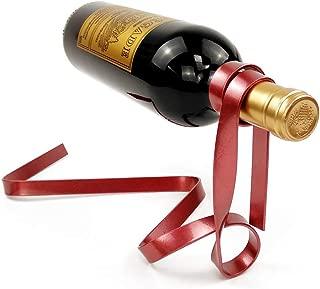 LeJoy Garden Suspended Ribbon Wine Rack Magic Floating Wine Bottle Holder Novelty Rack Iron Red Silk Rope Rack Stand Bracket
