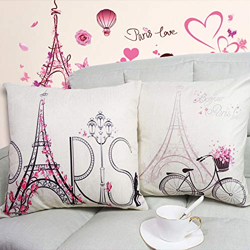 Paris Eiffel Tower Throw Pillow Covers Cases- Bicycle Paris Lovers Modern Cushion Cover Decorative Cotton Linen Pillowcase for Bench Sofa Home Decor, 2 Pack Pink