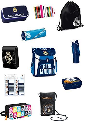 Real Madrid - Juego de mochila y estuche escolar (10 piezas, cierre magnético, estuche para lápices, fiambrera, bolsa de deporte y botella)