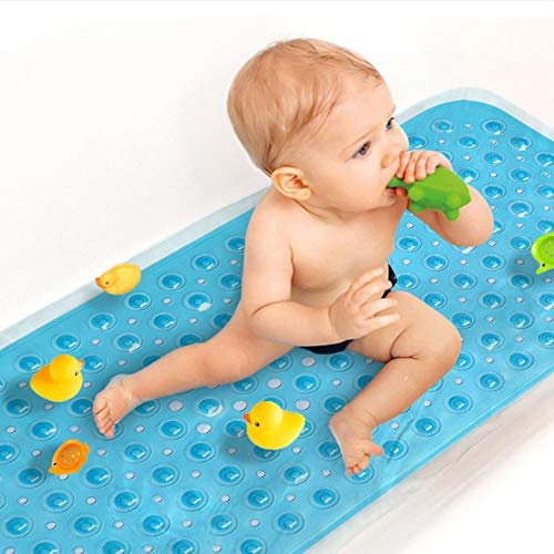 Sheepping Baby Bath Mat Non Slip Extra Long Bathtub Mat for Kids 40 X 16 Inch - Eco Friendly Bath Tub Mat with 200 Big Suction Cups,Machine Washable Shower Mat (Blue)